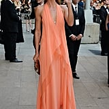 Heidi Klum stunned in a coral dress.