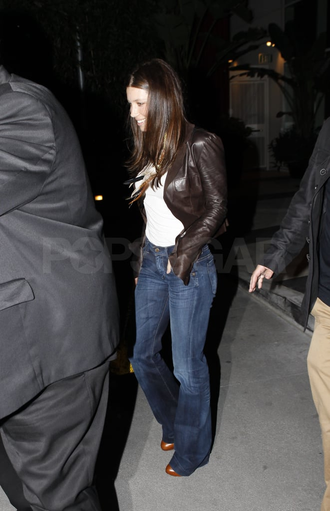 Jessica Biel stepped out with a smile last night after dining with friends and family for her brother's birthday at the new LA hot spot Cafe Entourage. The actress celebrated her own 29th earlier this month, shortly before announcing her split from boyfriend Justin Timberlake. Justin and Jess parted ways last week after three years of romantic vacations and PDA-filled dates. Both parties maintain the breakup was amicable and sources deny his Friends With Benefits costar Mila Kunis is what came between JT and Jessica.