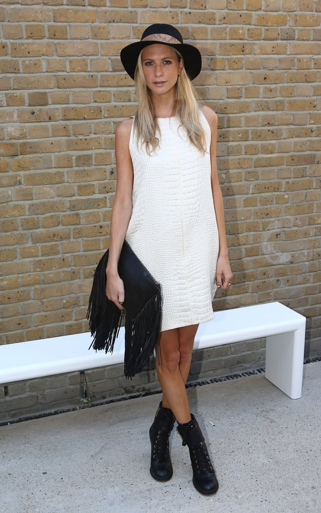 Poppy Delevingne styled her LWD with a Fall-feeling boho twist at the Zoe Jordan show on day one at LFW.