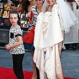 A hopeful fan wore a wedding dress to the event.