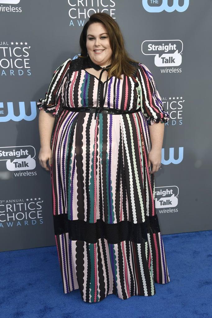 Chrissy Metz wearing a multicolored dress.