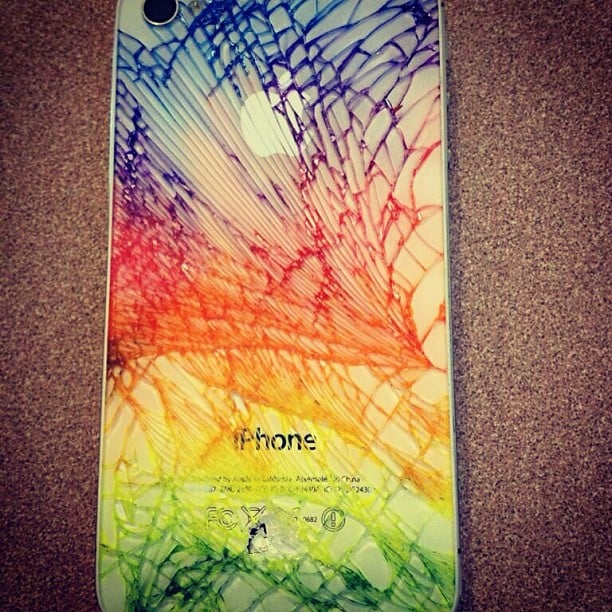 The more an iPhone cracks, the brighter the colors, says Instagram user greekstar19.