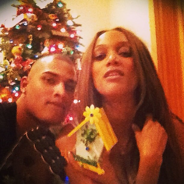 Tyra Banks and Rob Evans exchanged Christmas presents. Source: Instagram user tyrabanks