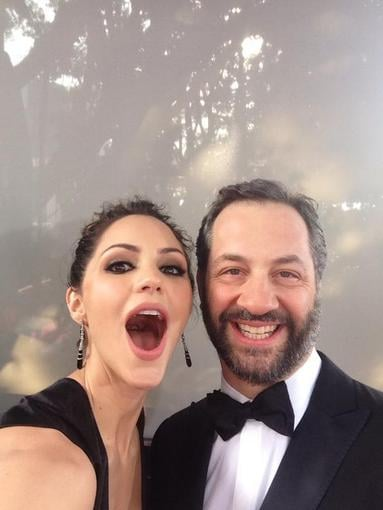 Katharine McPhee posed on the Globes red carpet with Judd Apatow. Source: Twitter user katharinemcphee