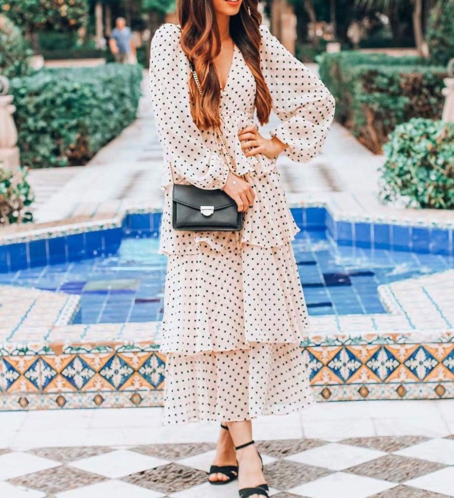 R.Vivimos Chiffon Polka Dot Layered Midi Dress