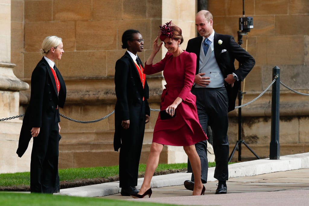 On Oct. 12, the Duke and Duchess of Cambridge stepped out for a very special occasion: Princess Eugenie and Jack Brooksbank's wedding. Of course, the busy mum of three stunned in a gorgeous magenta ensemble, while William looked dapper in his suit. Inside the church, the couple was spotted showing some supersweet (and super rare) PDA, as they were caught lovingly holding hands in their seats. To see Kate at the ceremony was a nice surprise, as it was previously reported that her attendance would be up in the air; her sister, Pippa Middleton, is set to welcome her first child any day now, and Kate would have missed the wedding to be by her side. Luckily, Pippa showed up at the wedding with her husband, James Matthews, as well! On top of looking after Prince George and Princess Charlotte, who were more adorable than ever, the Duke and Duchess of Cambridge also spent some time with Prince Harry and Meghan Markle, who looked like their usual beautiful selves and didn't shy away from a little bit of PDA. Read on to see more photos of William and Kate supporting Eugenie on her big day.       Related:                                                                                                           It Was a Royal Family Affair at Princess Eugenie's Wedding