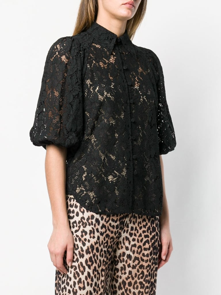 Ganni Floral Embroidered Lace Blouse