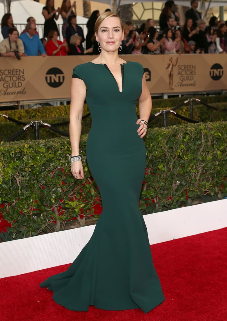 Kate Winslet in a deep green Giorgio Armani gown. | Colorful Dress ...