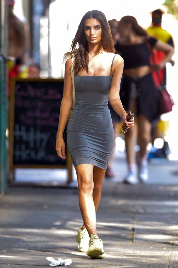 Emily Ratajkowski Gray Dress With Yeezy Sneakers