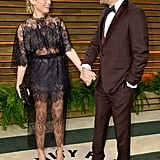 Joshua Jackson and Diane Kruger shared a look of love on their way into Vanity Fair's afterparty.