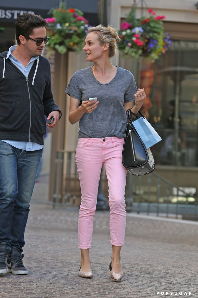 Diane Kruger wore pink pants to meet up with a pal for an LA shopping trip.