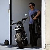 Orlando Bloom hopped back on his motorcycle after a morning session at the gym in West Hollywood.