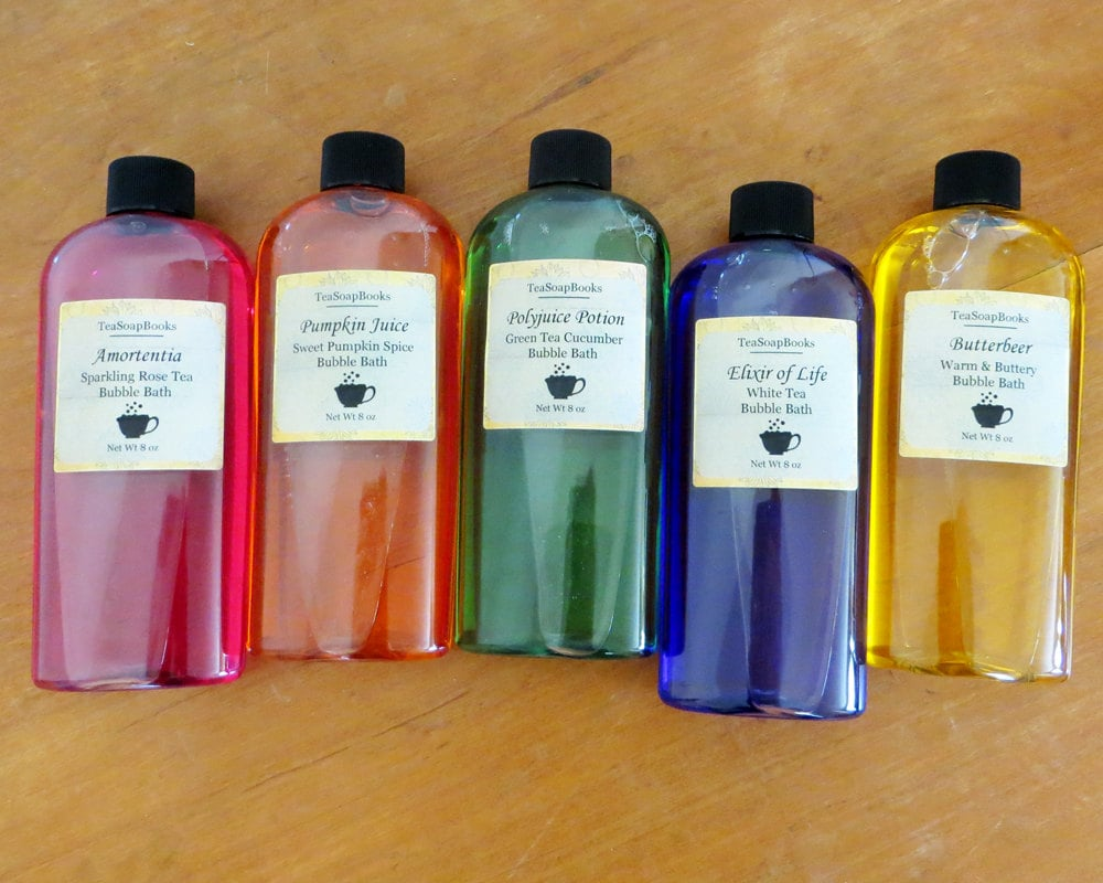 Harry Potter Bubble Bath Set: Amortentia, Pumpkin Juice, Polyjuice Potion, Elixir of Life, Butterbeer