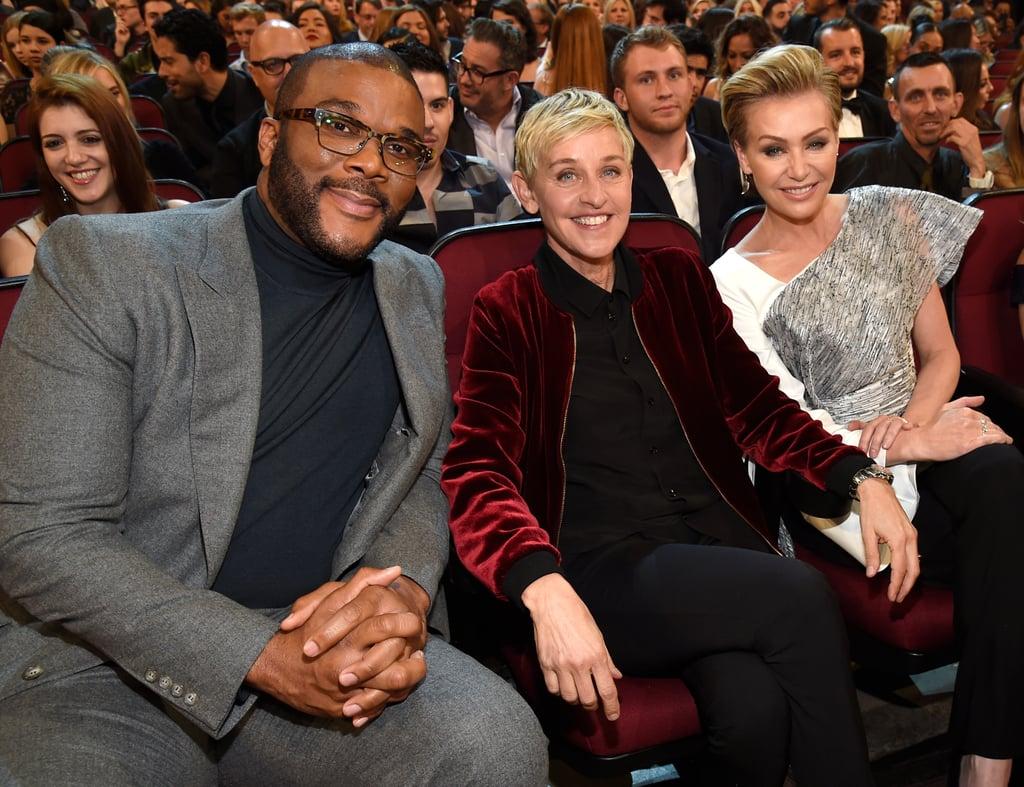 Pictured: Tyler Perry, Ellen DeGeneres, and Portia de Rossi