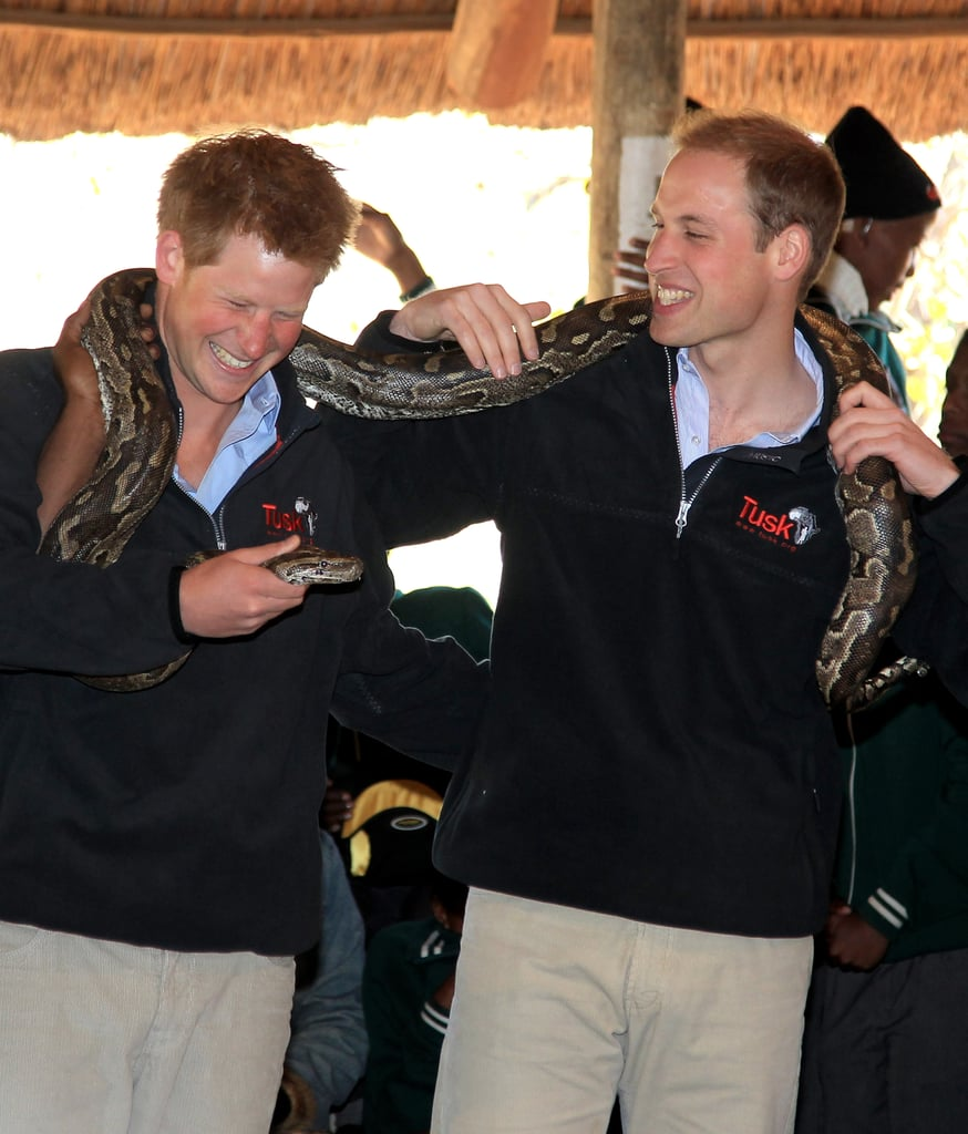 Princes William and Harry have grown up in the spotlight, sharing more than a few sweet moments in front of the cameras over the years. From their early days standing on the Buckingham Palace balcony with the rest of the royal family to their later appearances with the Duchess of Cambridge, they regularly crack up together, sometimes exchanging funny glances during official events. Who could forget the time they channelled Harry Potter? Or the time Harry gave Will an adorable look in the middle of the royal wedding? Keep reading for Prince William and Prince Harry's best moments together, then see Harry's best facial expressions and Will and Kate's love story.
