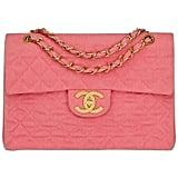 Chanel 1993 Pink Quilted Denim Vintage Maxi Jumbo XL Flap Bag