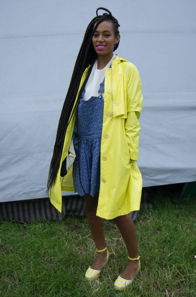 A denim pinafore, like the one Solange Knowles rocked at Glastonbury in London, is simply adorable. Just add neon accents for an eye-catching combo.