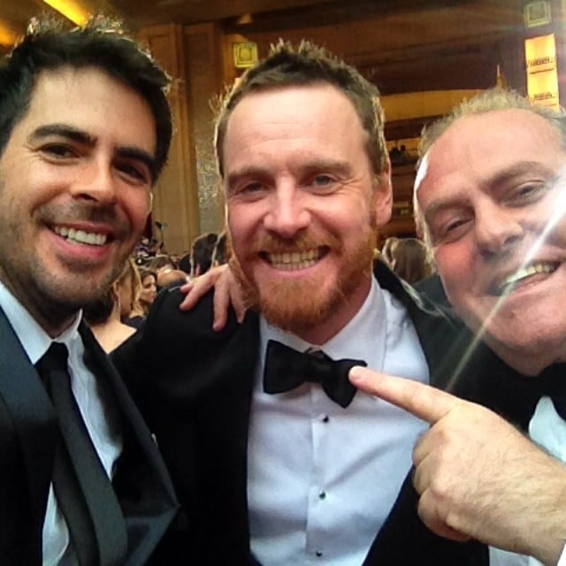 Eli Roth snapped a selfie with Michael Fassbender. Source: Instagram user realeliroth