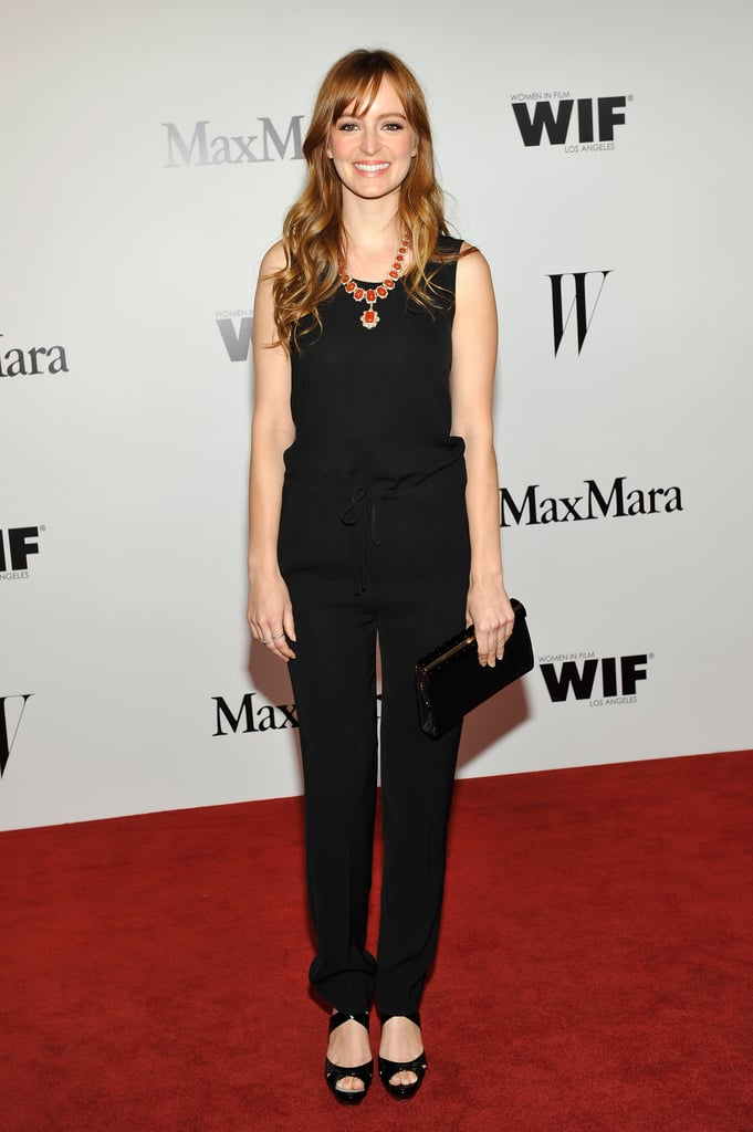 Ahna O'Reilly arrived kept it simple in an all-black Sportmax jersey jumpsuit, but added flair with a jeweled statement necklace.