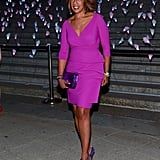 Gayle King wore a bright pink number.