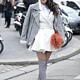 We like to think of this look as a very polished and more grown-up play on schoolgirl silhouettes.