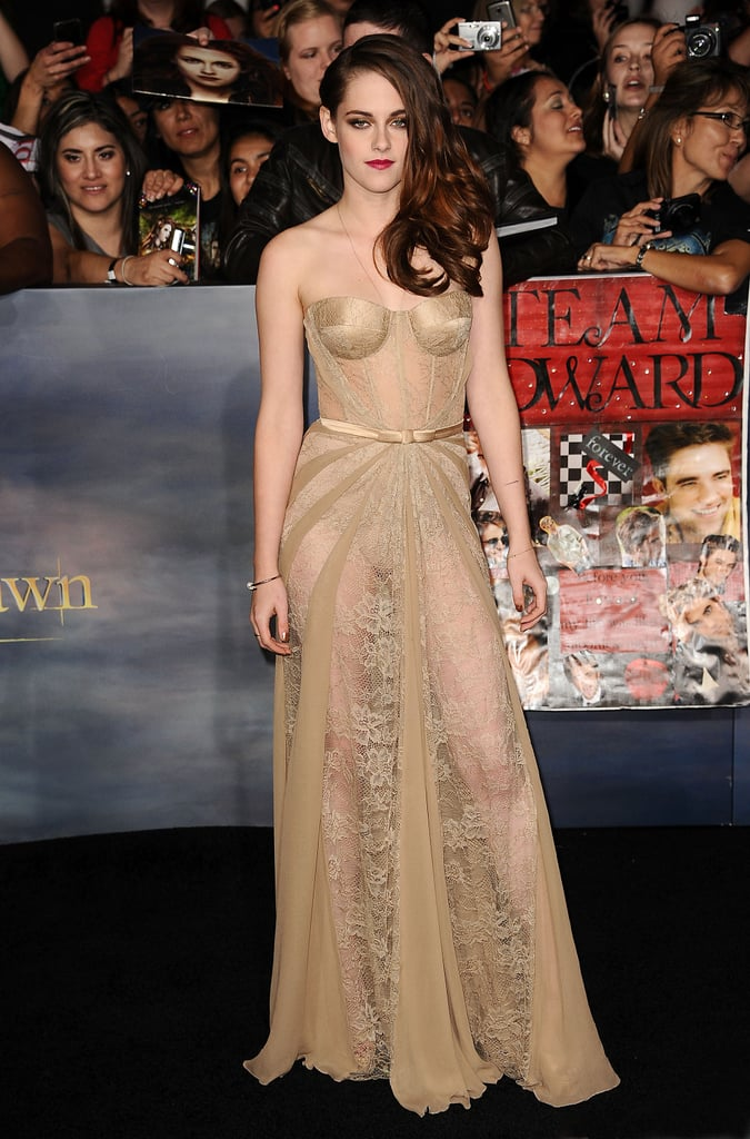 Kristen stole the show at the November premiere of Breaking Dawn Part 2 in a revealing sheer lace Zuhair Murad gown — the strapless, nude-colored dress left little to the imagination and solidified Kristen's place as a red-carpet vixen.