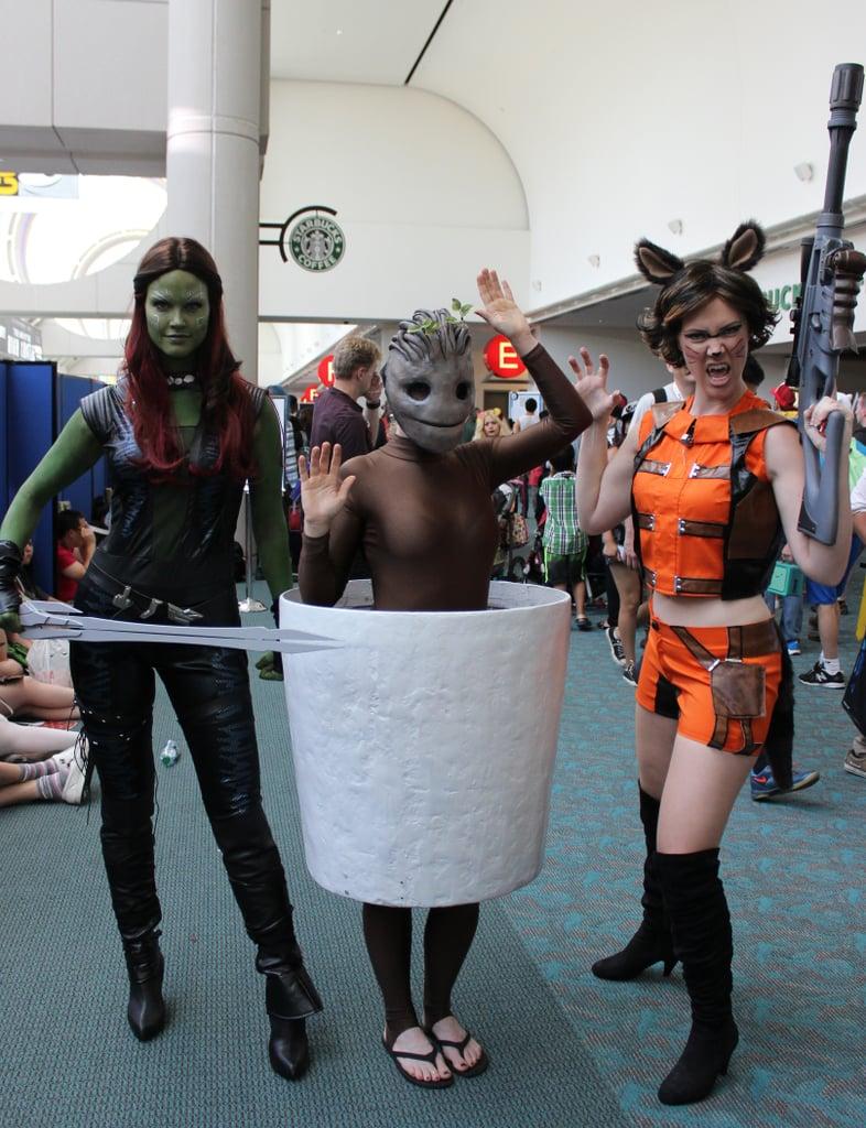 Gamora, Baby Groot, and Rocket Racoon