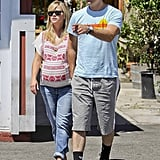 Pregnant Reese Witherspoon walked in LA with husband Jim Toth.