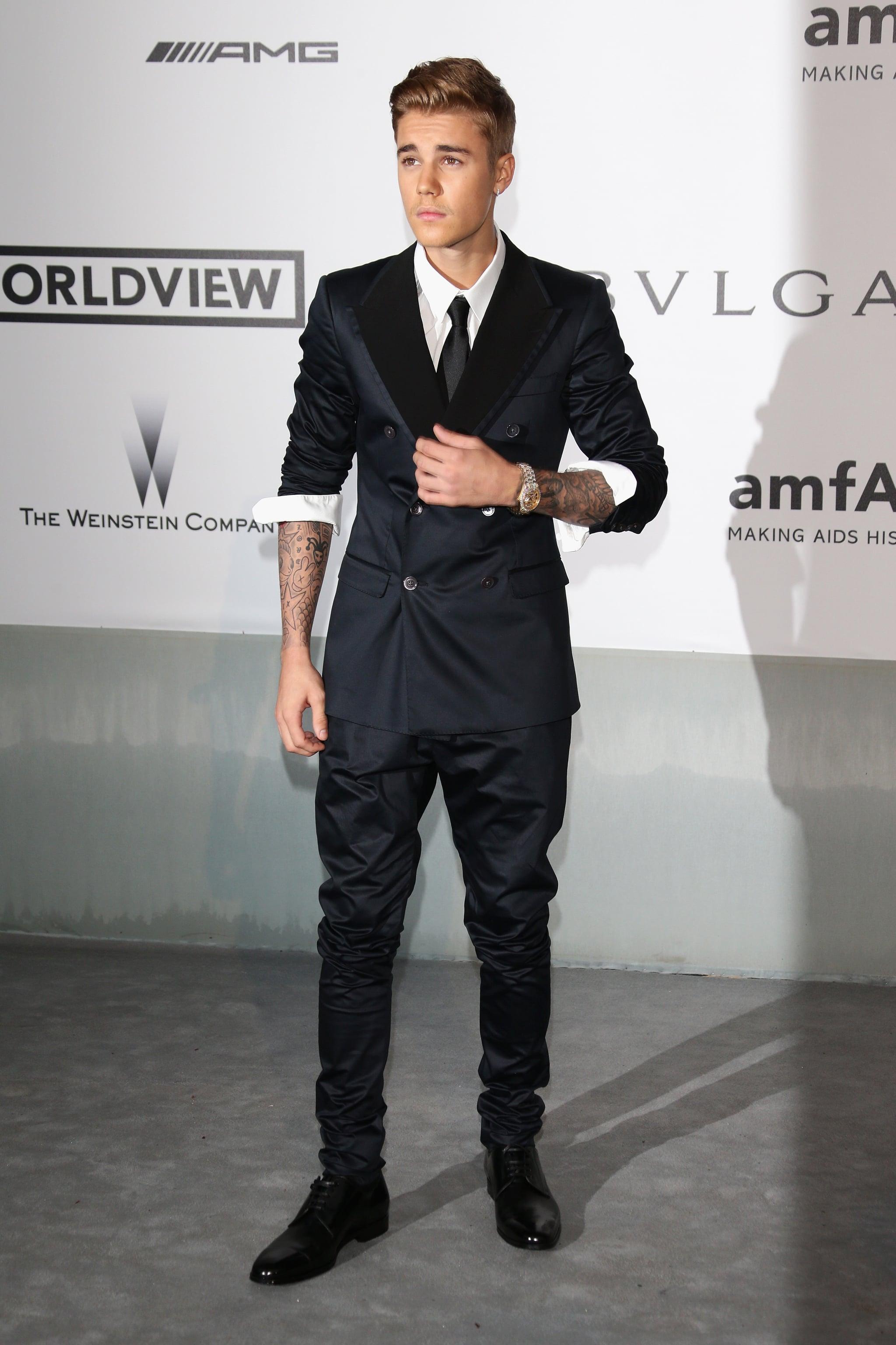 Justin Bieber walked the carpet at the amfAR Gala.