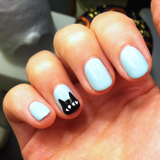Black Cat Manicure Idea For Halloween