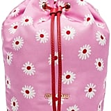 Miu Miu Pink and Red and White Daisy Print Drawstring Pouch