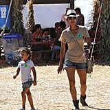 Halle Berry and Nahla Aubrey walked through the pumpkin patch.