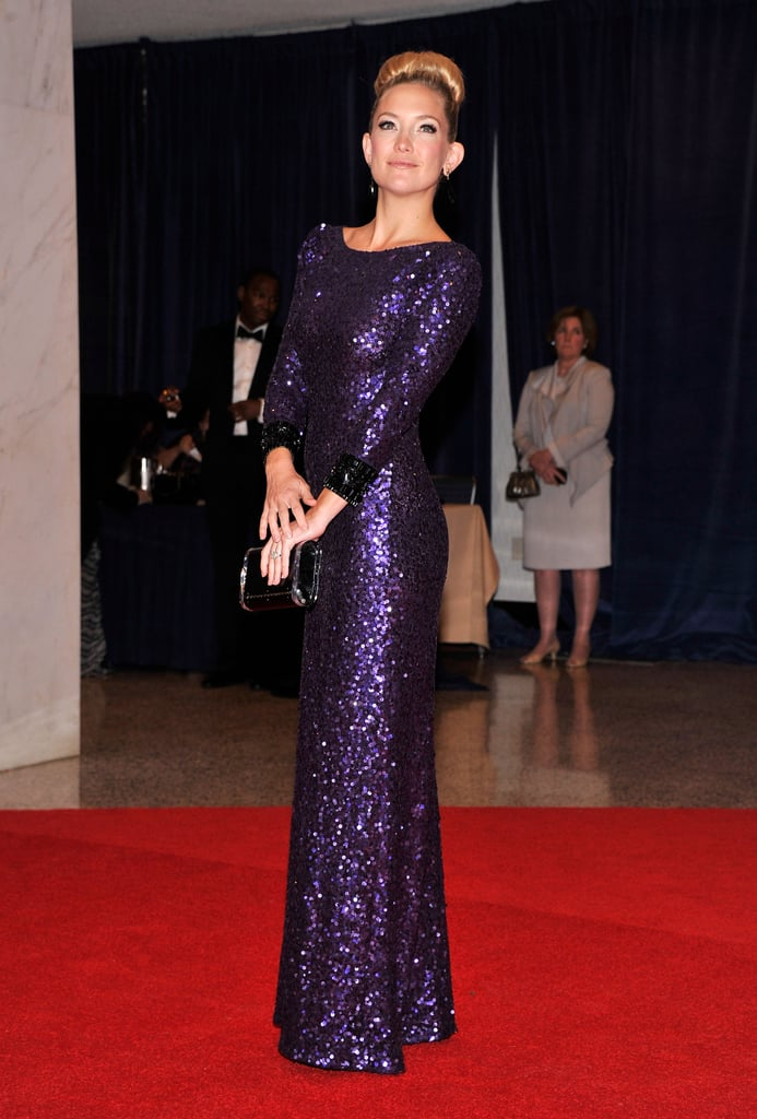 Kate Hudson sparkled in purple Jenny Packham at the White House Correspondents' Association Dinner in Washington DC in April.