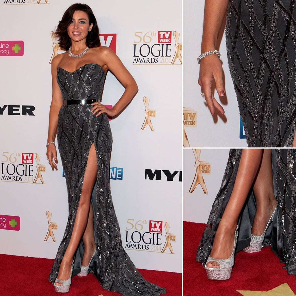Dannii Minogue at the 2014 Logies Wearing Paolo Sebastian