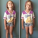 Tori Spelling showed off Stella's fun outfit complete with rad pink highlights and a graphic Blondie t-shirt.