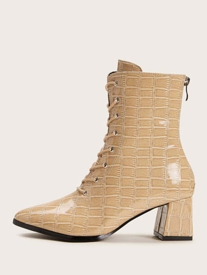 Shein Point Toe Croc Embossed Chunky Boots