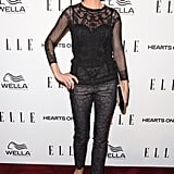 Jenna Elfman wore a sheer black top to the Elle Women in TV event.