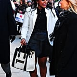 She kept it color-coordinated, right down to her black and white Céline bag, for a book signing at Club Monaco in NYC in March 2014.