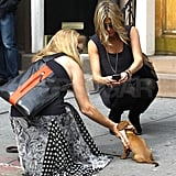 Jennifer Aniston stopped on the street to snap a photo of a small dog.