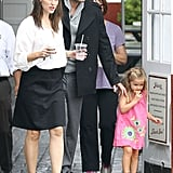 Ben Affleck and Jennifer Garner walked out of Brentwood Country Mart with Seraphina Affleck.