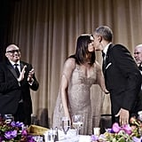 The first lady gave her husband a kiss after he spoke at the White House Correspondents' Dinner at the end of April.