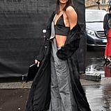 Joan Smalls Wears Her Gray Overalls Undone