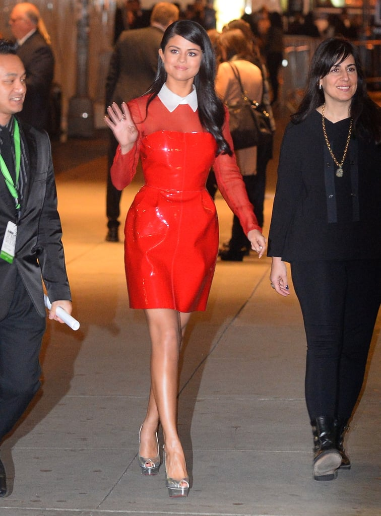 Fall staple: a long-sleeved leather minidress by Valentino. Selena wore it with: Charlotte Olympia slingback heels in New York in November 2015.