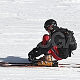Prince William sat back on his skis on a vacation to France with the Middletons.