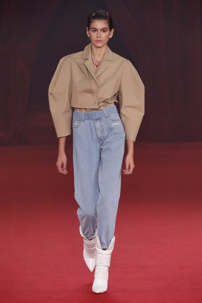 Kaia Walked the Off-White Runway in a Structural Blouse and High-Waisted Denim