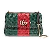 Gucci Leather-Trimmed Coated-Wicker Shoulder Bag