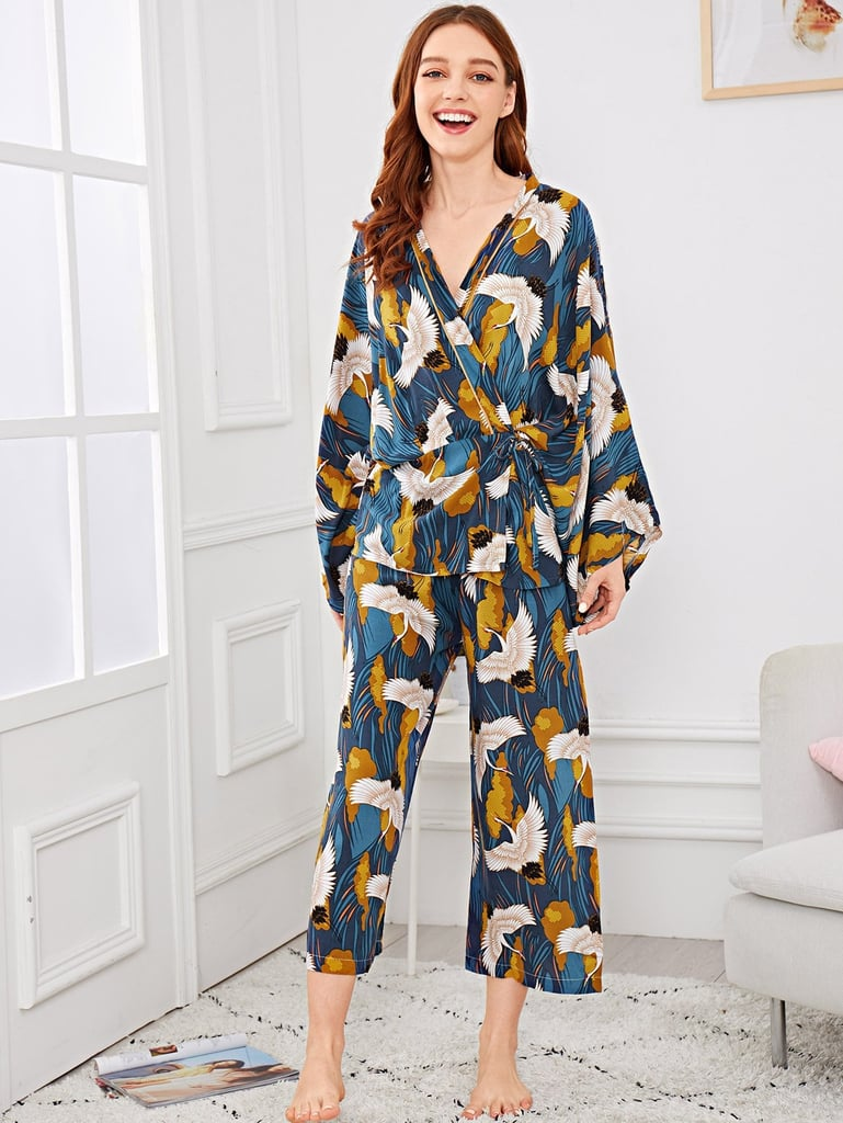 Shein Crane Print Wrap Pajama Set