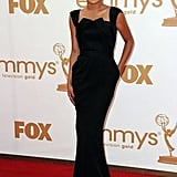 Glee's Naya Rivera wore a sleek, floor-length black dress.