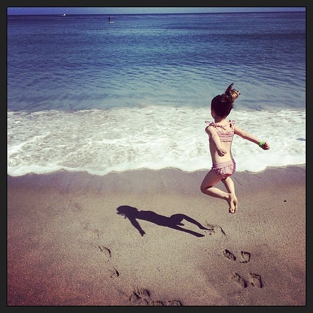 Harper Smith jumped for joy at the idea of having another beach day! Source: Instagram user tathiessen