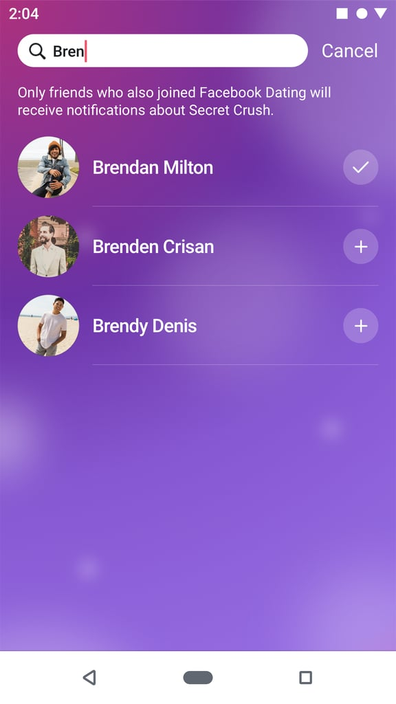 Search through the friends who have joined Facebook Dating to make your selection.
